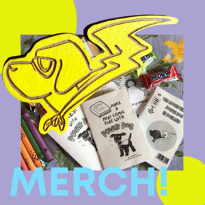 assorted merch bundle featuring pins and zines and candy